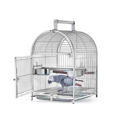 ZOUJUN Vogel-Transportkäfig, Edelstahl Tragbare Parrot-Spielraum-Metallkäfig Haus Vogelträger Hund Gemeinsame Parrot Vögel Essen Vogel-Zufuhren for Außen (Größe: 34,5 * 32,5 * 50.5cm)