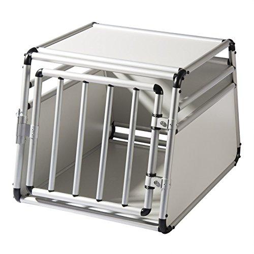 EUGAD Hundetransportbox Alu Hundebox Reisebox Autobox für kleine/mittlere Hunde Französische Bulldogge Beagle Terriers Dackel Shiba Inu 69 x 54 x 50 cm L 0059HT