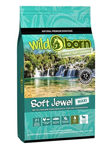 Wildborn Soft Jewel Maxi 12 kg getreidefreies Hundefutter mit 75% frischem Huhn & Fisch   extra Soft Hundefutter mit hohem Fleischanteil   für große Hunde   getreidefreie Rezeptur aus Deutschland