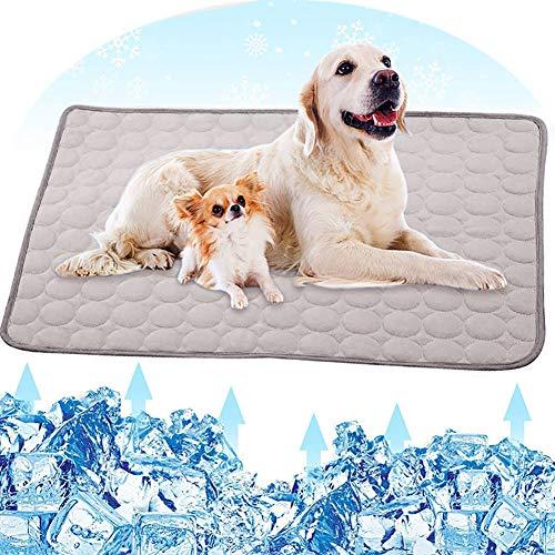 Jorisa Haustier Kühlmatte,Hund Katze Sommer Kühlkissen Eisseide Selbstkühlend Decke Schlafbett Matte Kühlung Matratze für Haustier Hund Katze Welpe(L:70x55cm,Grau)