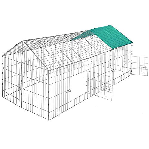 TecTake 800393 - Kaninchen Freilaufgehege mit Sonnenschutz, 180 x 75 x 75 cm, Schnelle Montage - Diverse Farben (Dach grün   Nr. 402420)