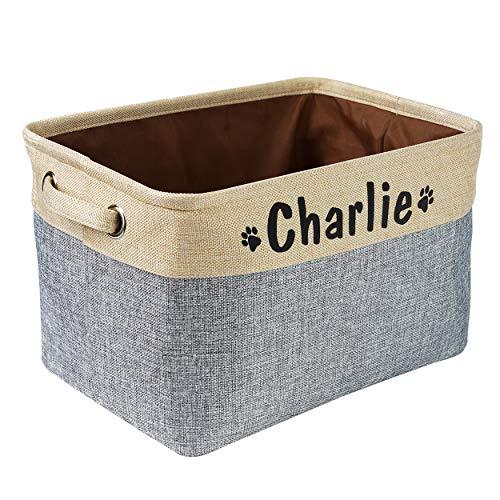 Zusammenklappbarer Aufbewahrungskorb für Hundespielzeug mit personalisiertem Namen des Haustiers – rechteckige Aufbewahrungsbox für Hundespielzeug Hundemäntel Hundekleidung Hundebekleidung und Zubehör