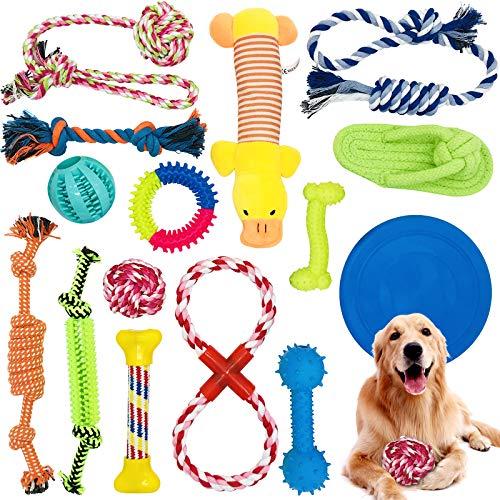 McNory Hundespielzeug Set,Hundeseile, interaktives Pet Rope Spielzeug, Hergestellt aus Natürlicher Baumwolle ungiftig und geruchlos Robust Besser,geeignet für kleine und mittelgroße Hunde (15 PCS)