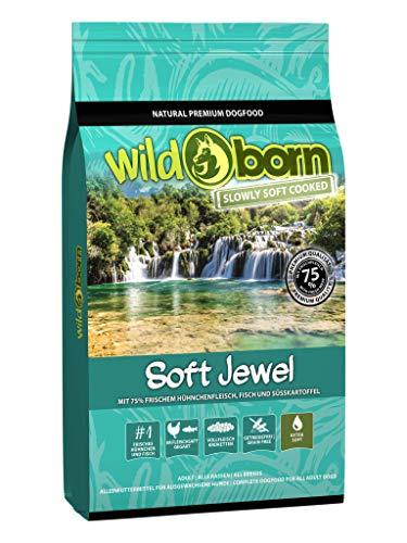 Wildborn Soft Jewel 12 kg getreidefreies Hundefutter mit 75% frischem Huhn & Fisch | extra Soft Hundefutter mit hohem Fleischanteil | getreidefreie Rezeptur aus Deutschland