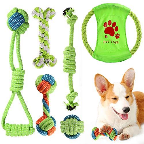 ACE2ACE Welpenspielzeug Set, Hundespielzeug Kauspielzeug Hundeseil, Spielzeug für kleine Hunde und Welpen, 100% natürliche Baumwolle, mit Frisbee, Kugelseil, Seilknochen (6-teiliges Set)