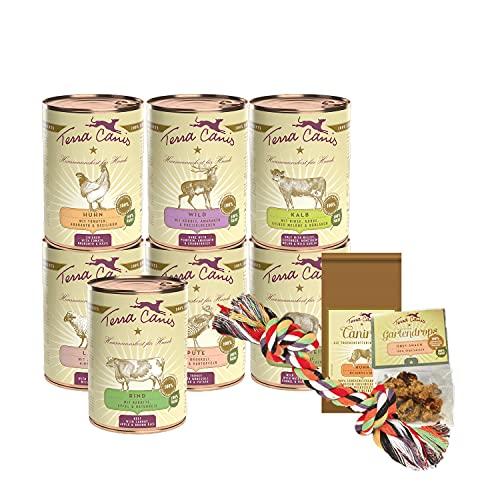 Terra Canis Kennenlernpaket M - Classic, 7x400g, 50g Canireo, 12g Gartendrops & Goodie I Premium Hundefutter in 100% Lebensmittelqualität Aller Rohstoffe I Reichhaltig & gesund I Allergenarm