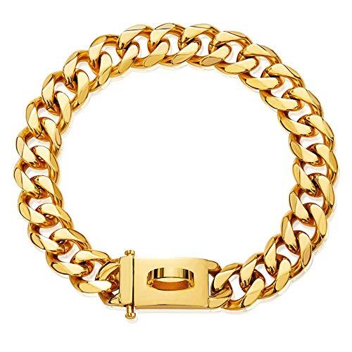 Gold Hundehalsband Halskette,verstellbar 18 Karat Starkes Edelstahl Metall Links Slip Chain Halsband für kleine mittelgroße Hunde (B, M)