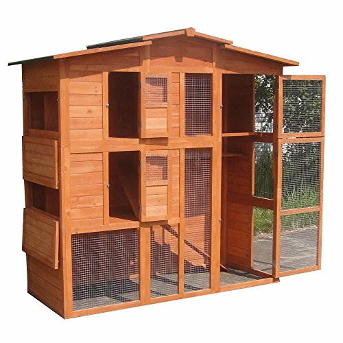 Melko® XXL Hühnerstall mit Freilaufgehege, aus Holz, 171 x 166 x 80 cm, Inkl. 4 Nistplätze + Schiebetür