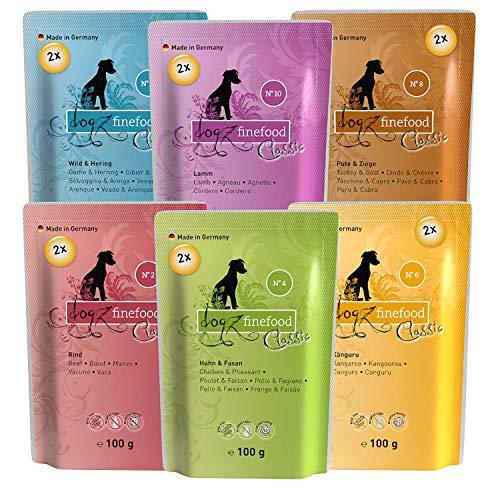 dogz finefood Hundefutter nass - Feinkost Nassfutter im Frischebeutel Multipack für kleine Hunde und Welpen - getreidefrei und zuckerfrei, verschiedene Sorten (12 x 100 g)