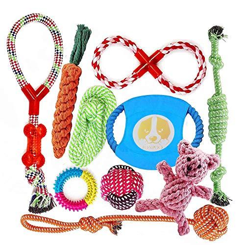 FONPOO Hundespielzeug, Hergestellt aus Natürlicher Baumwolle ungiftig und geruchlos Robust Besser für Zahnreinigung Geeignet für kleine Und Mittlere Hunde Hundespielzeug Set 10 PCS