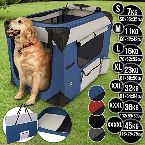 Leopet® Hundebox aus Stoff - faltbar, tragbar, abwaschbar, Farbe Blau, Größe S - Hundetransportbox, Auto Transportbox, Katzenbox für Hunde, Katzen und Kleintiere